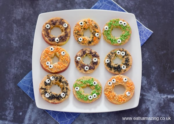 Fun Monster themed apple donuts for Halloween - healthy snack idea for kids