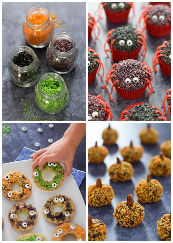 Fun and easy Halloween recipes for kids made using homemade coconut sprinkles in spooky Halloween colours
