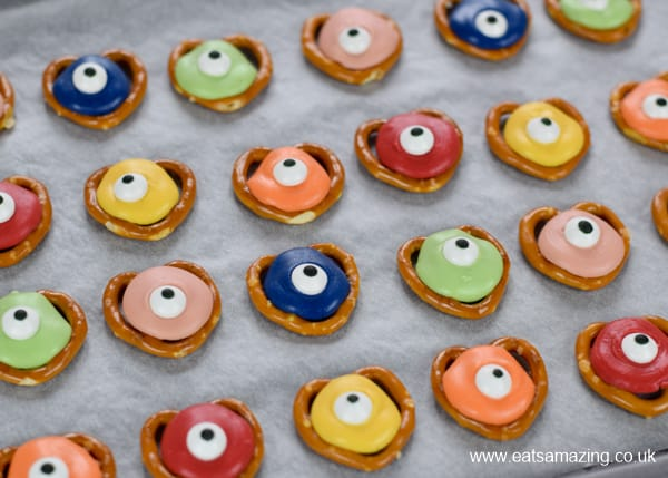 Fun and easy Halloween treat - Monster pretzels recipe for kids