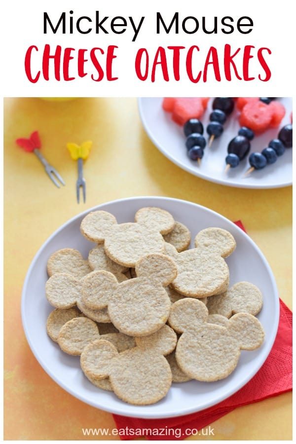 Fun and easy Mickey Mouse themed cheese oatcakes recipe - great healthy snack or party food for kids #EatsAmazing #kidsfood #easyrecipe #disney #mickeymouse #cookingwithkids #healthykids #snackrecipes #partyfood #crackers