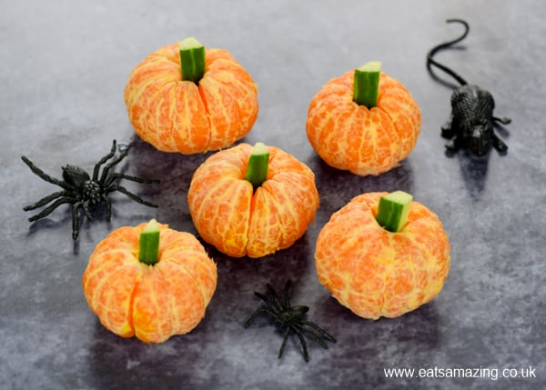 Fun and easy clementine pumpkins - great for healthy Halloween party food and kids lunch boxes too