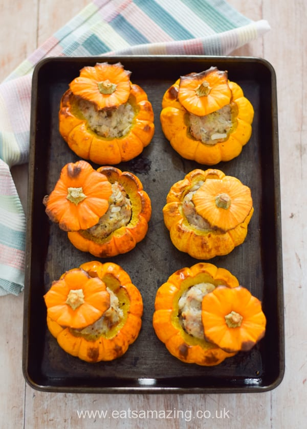 Fun and easy oven baked sausage stuffed mini pumpkins - this fun recipe makes a great family meal for Halloween or Bonfire Night