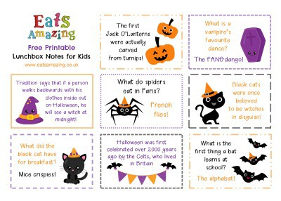 Halloween FREE Printable Lunchbox Notes for kids - head over to the blog post to download and print your own set