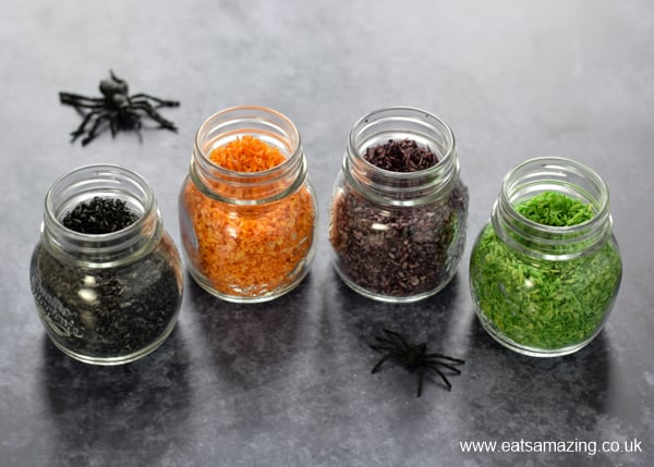 How to make Halloween themed sprinkles - quick and easy recipe that is perfect for Halloween baking and party food
