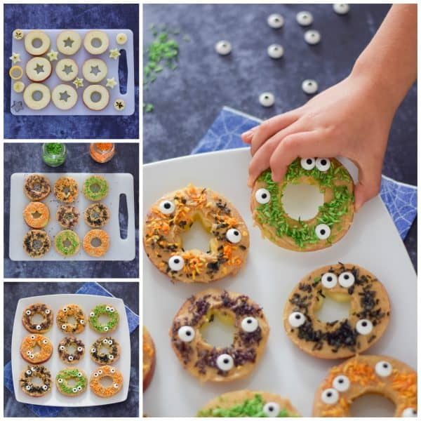How to make Monster apple donuts - fun and healthy Halloween snack for kids from Eats Amazing UK
