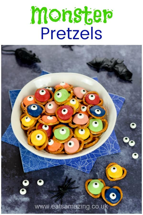 How to make easy Monster pretzels - fun and easy Halloween recipe for kids #EatsAmazing #Halloweenfood #halloween #partyfood #halloweenparty #monsters #funfood #foodart #kidsfood #cookingwithkids #easyrecipe
