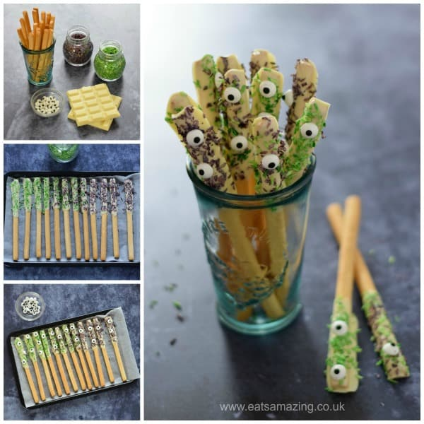 How to make monster breadstick wands - fun Halloween recipe from Eats Amazing UK