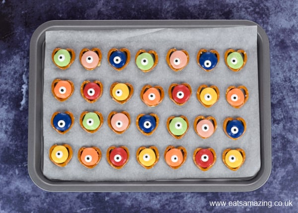How to make monster pretzels for Halloween - step 3 add candy eyes