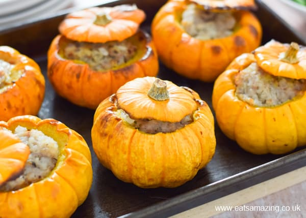 How to make oven baked sausage stuffed mini pumpkins - fun and tasty autumn family meal idea