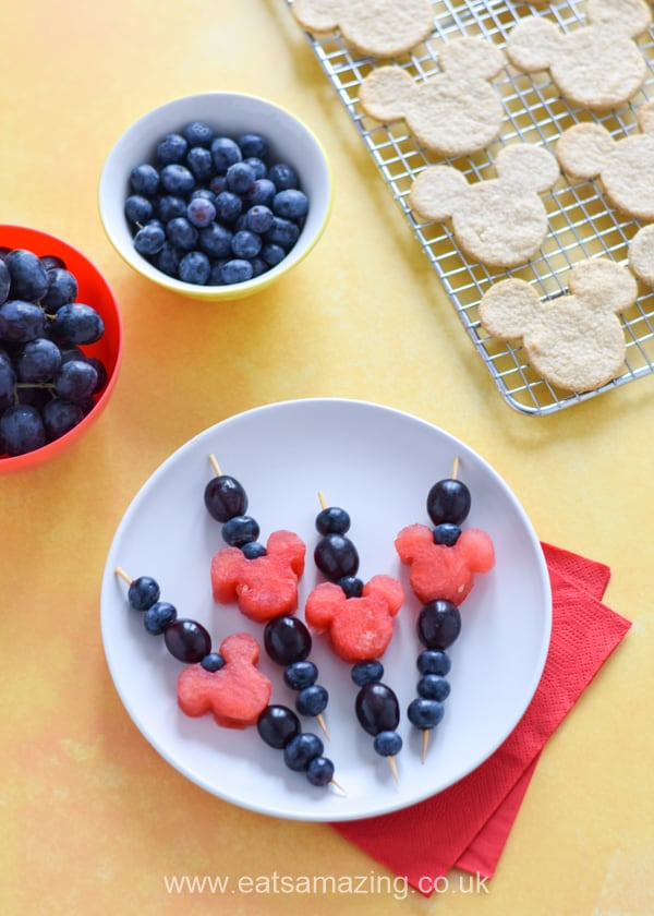 Mickey Mouse themed fruit kebabs - a fun and healthy snack or party food for kids