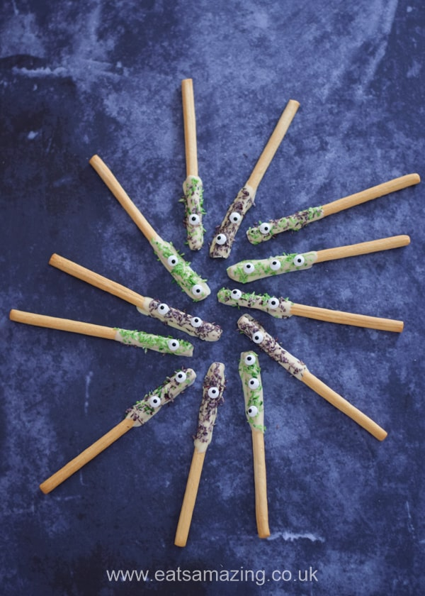 Monster breadstick wands - this fun recipe is perfect for kids Halloween party food and treats