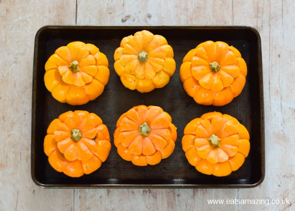 Oven baked sausage stuffed mini pumpkins recipe - step 4 replace the lids ready for baking