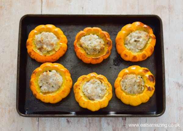 Oven baked sausage stuffed mini pumpkins recipe - step 5 roast until cooked through