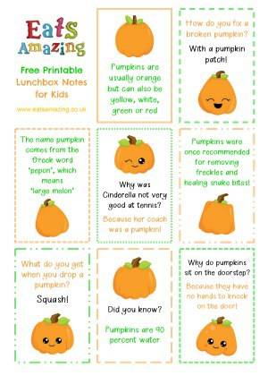 Pumpkin FREE Printable Lunchbox Notes for kids - head over to the blog post to download and print your own set