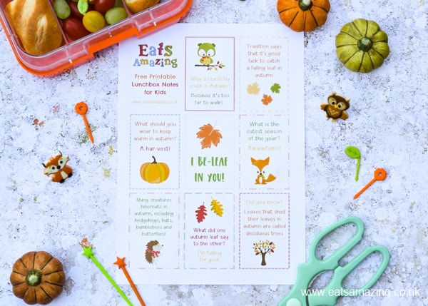 Super cute FREE printable Autumn themed lunchbox notes for kids - perfect for popping in lunch bags and school bags