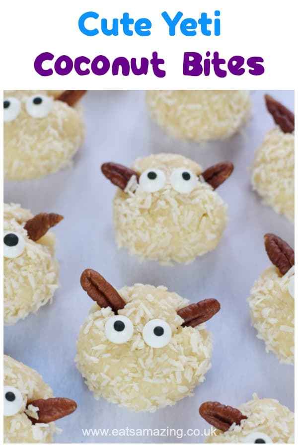 Super cute Yeti no-bake coconut bites - fun and easy recipe for kids inspired by the new movie Smallfoot - dairy free and gluten free recipe #EatsAmazing #smallfoot #kidsfood #partyfood #funfood #foodart #yeti #cutefood #coconut #recipe #easyrecipe #cookingwithkids