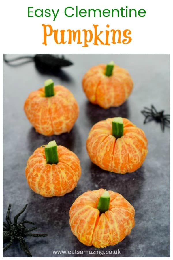 Super easy clementine pumpkins are perfect for healthy Halloween party food and spooky lunch boxes for kids #EatsAmazing #halloween #funfood #halloweenparty #Halloweenfood #kidsfood #kidsparty #partyfood #pumpkin #foodart #healthyhalloween
