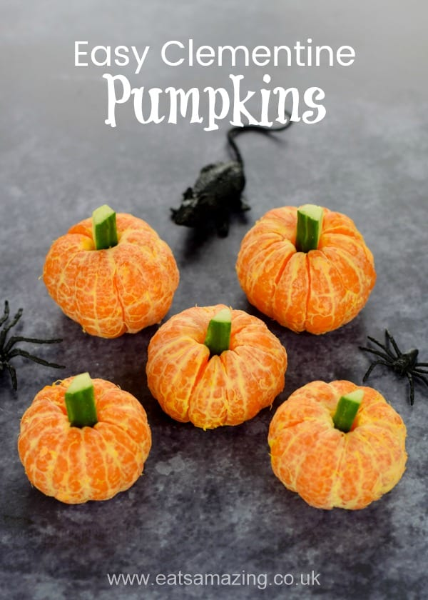 These super simple clementine pumpkins make a great healthy Halloween snack for kids