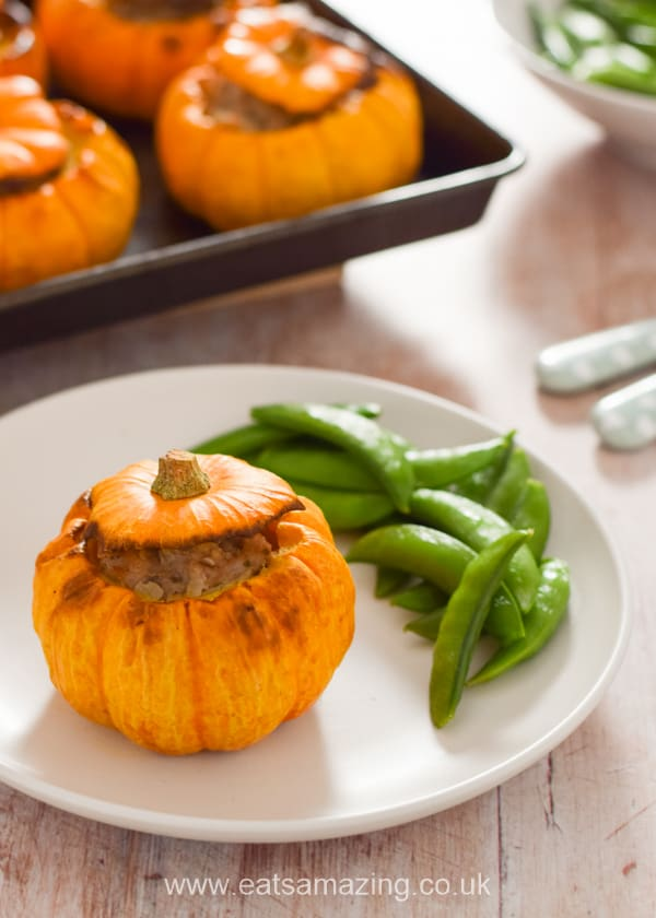 Whole roasted mini pumpkins with sausage stuffing recipe - fun family meal idea for Halloween or Bonfire Night