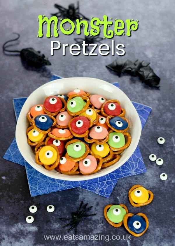 You need just 3 ingredients to make these super easy Halloween pretzels - fun and easy monster recipe for kids