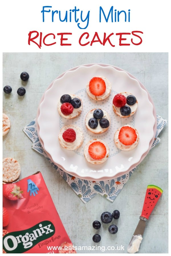 Top mini rice cakes with fruit for a quick and easy healthy snack for kids #EatsAmazing #Organix #healthysnacks #healthysnacksforkids #kidssnacks #easyrecipe #snackideas #snacks #organicfood #healthykids #kidsfood