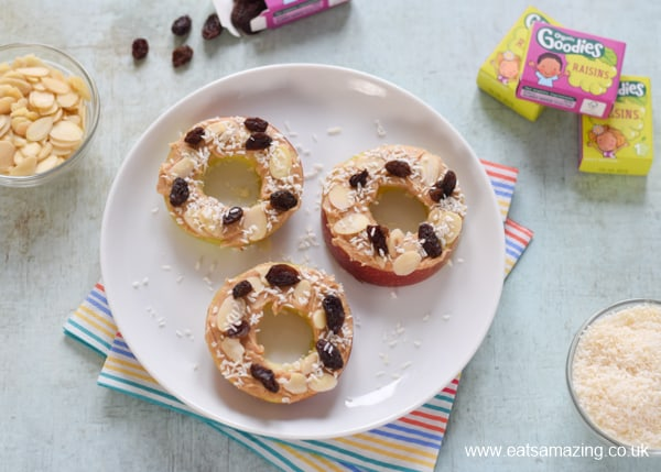 Yummy Peanut Butter Apple Donuts recipe - a fun and healthy snack for kids