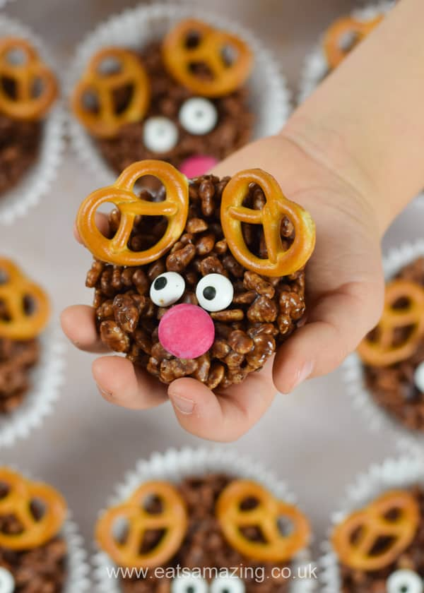 Cute and easy chocolate reindeer crispy cakes recipe - fun Christmas treat for kids