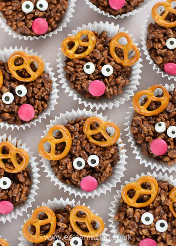 Cute and easy reindeer crispy cakes - fun Christmas recipe for kids