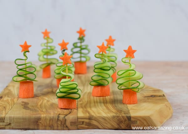 Cute and easy vegetable Christmas trees snack - fun and healthy Christmas party food for kids