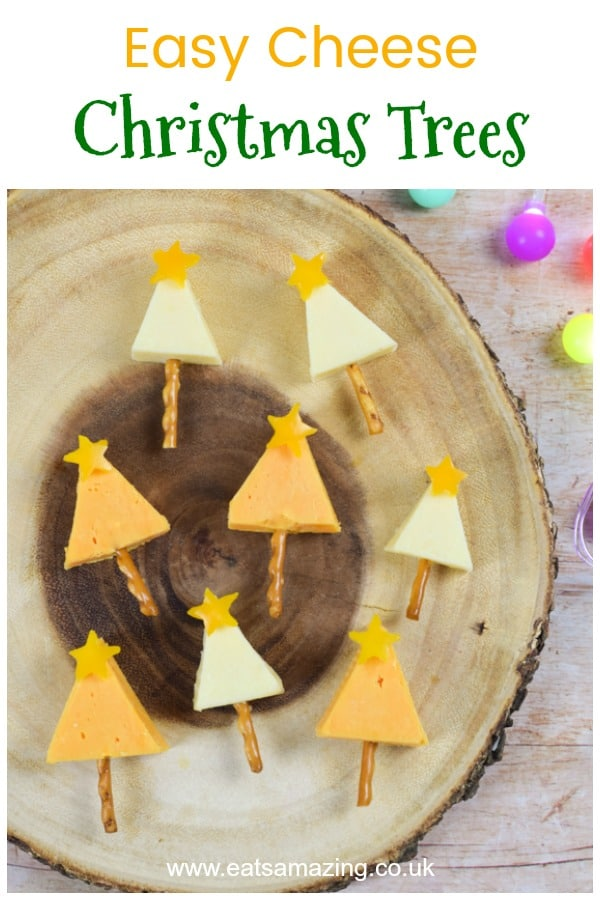 Easy cheese Christmas trees recipe - fun Christmas party food appetiser or festive snack for kids #EatsAmazing #christmasfood #christmasrecipes #kidsfood #partyfood #christmasparty #christmaspartyfood #healthyChristmas #funfood #foodart #healthykids