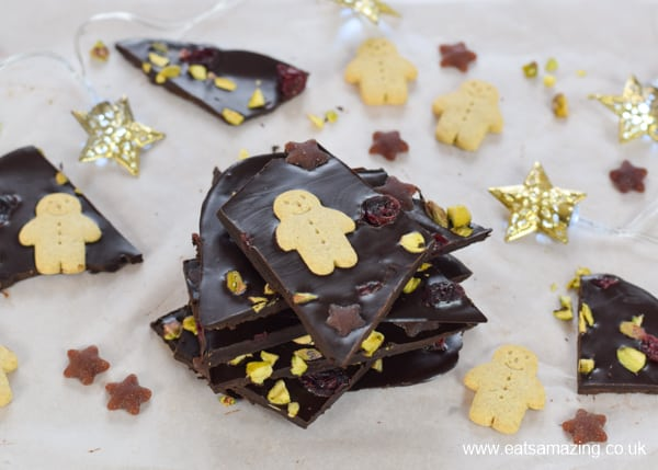 Easy coconut oil chocolate bark recipe with Organix gingerbread men and fruit stars - fun Christmas treat for kids