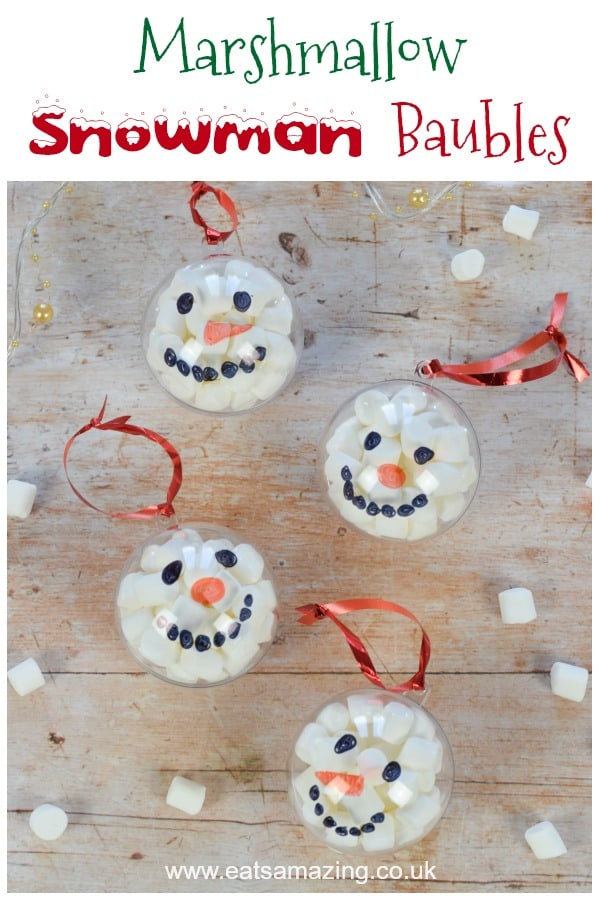 Fun and easy marshmallow filled snowman baubles - Christmas craft idea for kids with video tutorial #EatsAmazing #Christmas #funfood #christmasfood #christmascrafts #snowmen #baubles #kidscrafts #christmaskids #christmasgifts #foodart