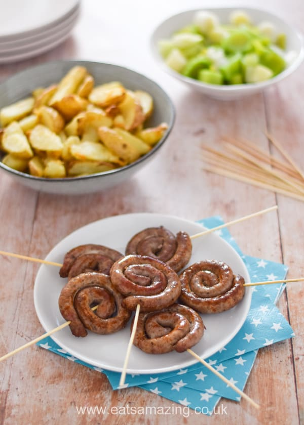 Fun and easy sausage swirls on a stick - this fun fireworks themed party food idea is perfect for bonfire night and other celebrations