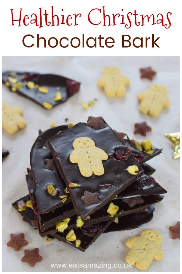 Homemade easy coconut oil Christmas chocolate bark recipe - fun and healthy Christmas treat for kids  #EatsAmazing #Christmas #christmasfood #christmasrecipes #chocolatebark #coconutoil #cookingwithkids #kidsfood #funfood #healthyrecipes #healthykids