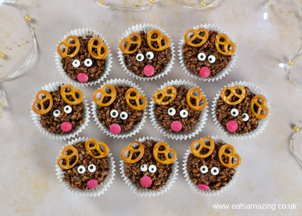 How to make Rudolf the reindeer rice crispy cakes - fun and easy Christmas recipe for kids