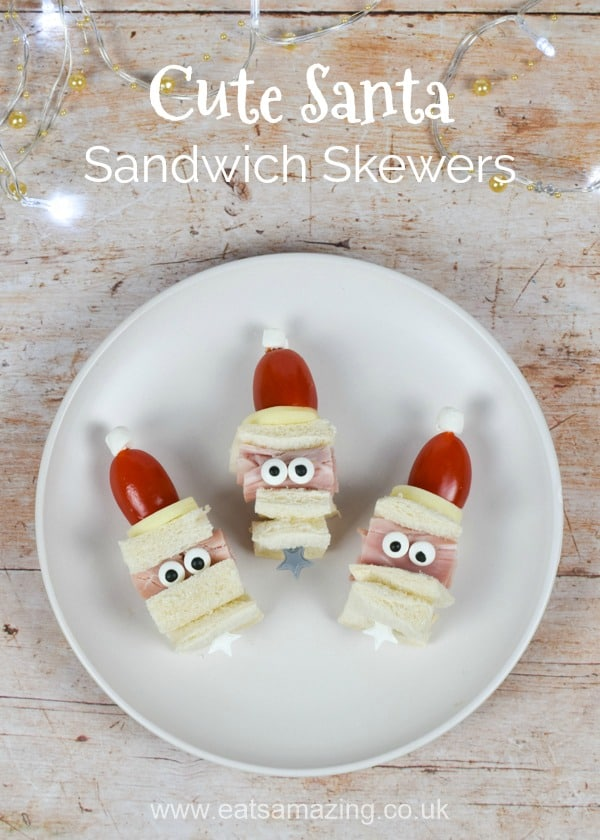 How to make cute Santa sandwich skewers - fun and healthy Christmas food idea for kids