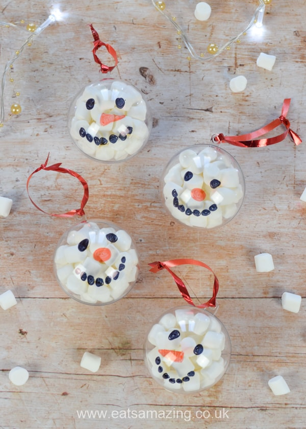 Cute Christmas Ideas For Kids.Fun Christmas Craft Marshmallow Snowman Baubles
