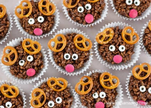 How to make easy reindeer chocolate rice crispy cakes - fun Christmas food for kids