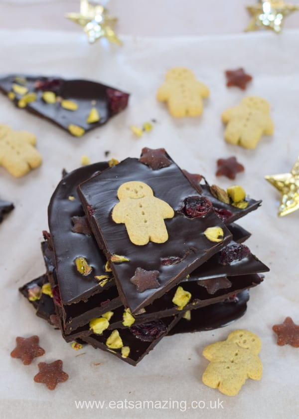 How to make homemade coconut oil chocolate bark - fun and healthy Christmas treat recipe for kids