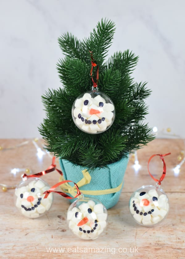 How to make marshmallow filled snowman baubles - fun Christmas gift idea kids can make