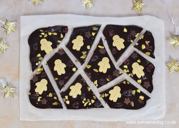 How to make quick and easy Christmas chocolate bark with homemade coconut oil chocolate - a healthy Christmas treat kids can make
