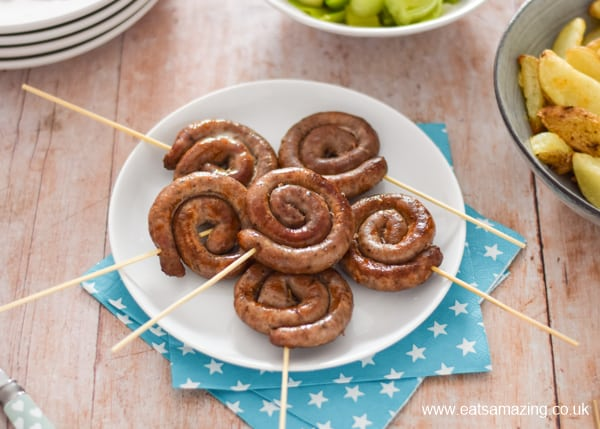 How to make sausage swirls on a stick - fun fireworks themed recipe for kids