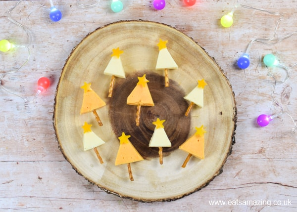 Quick and easy cheese Christmas trees recipe - fun festive party food for kids