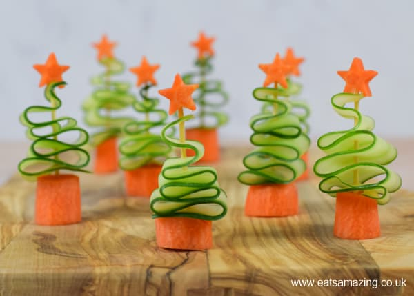 Quick and easy cucumber Christmas Trees recipe - healthy party appetiser for kids this festive season