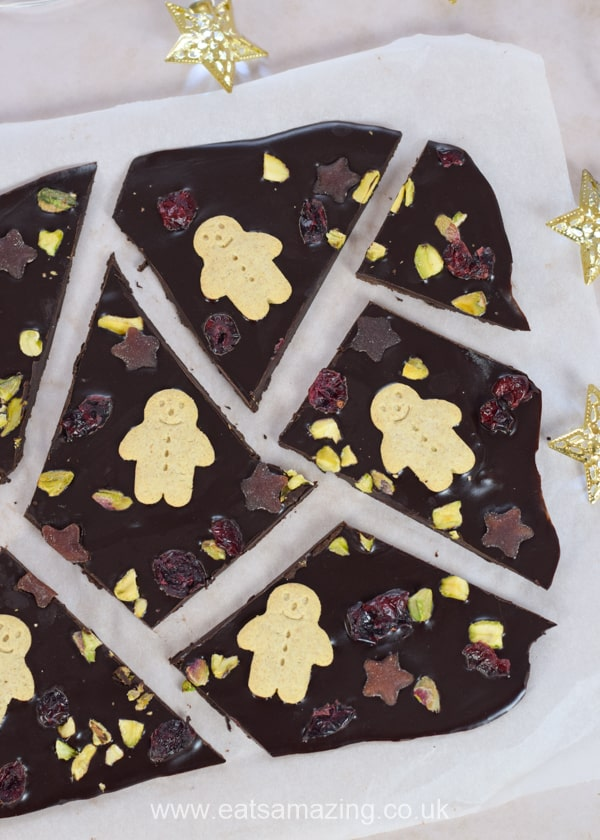 Quick and easy healthy Christmas chocolate bark recipe - a fun treat for kids to make this Christmas