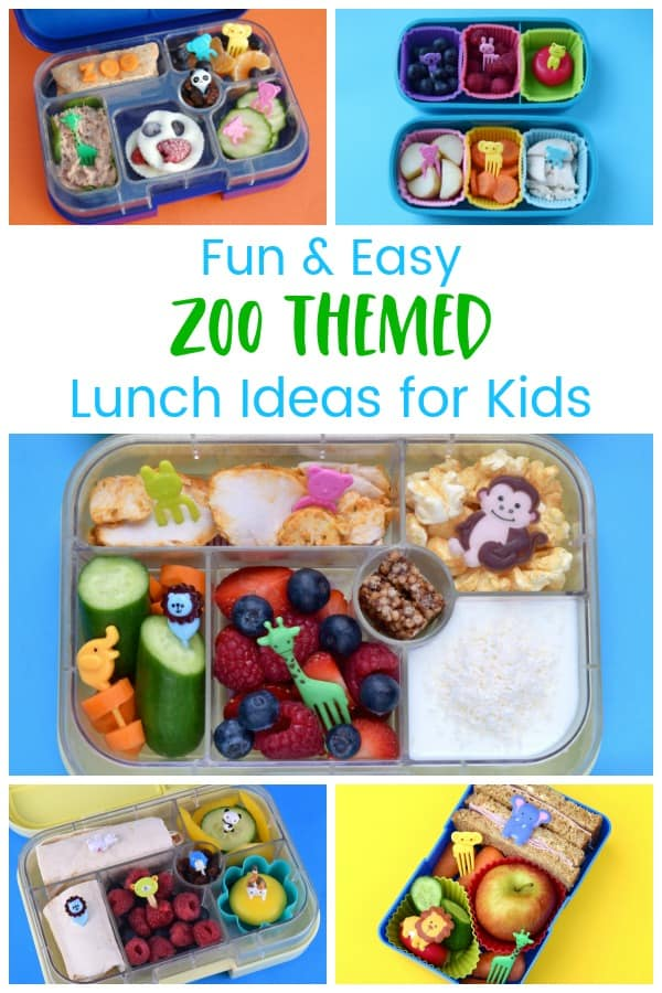 A week of quick and easy zoo themed packed lunches for kids - fun bento box ideas for school lunches #EatsAmazing #lunchideas #bento #kidslunch #healthykids #kidsfood #funfood #schoollunch #backtoschool