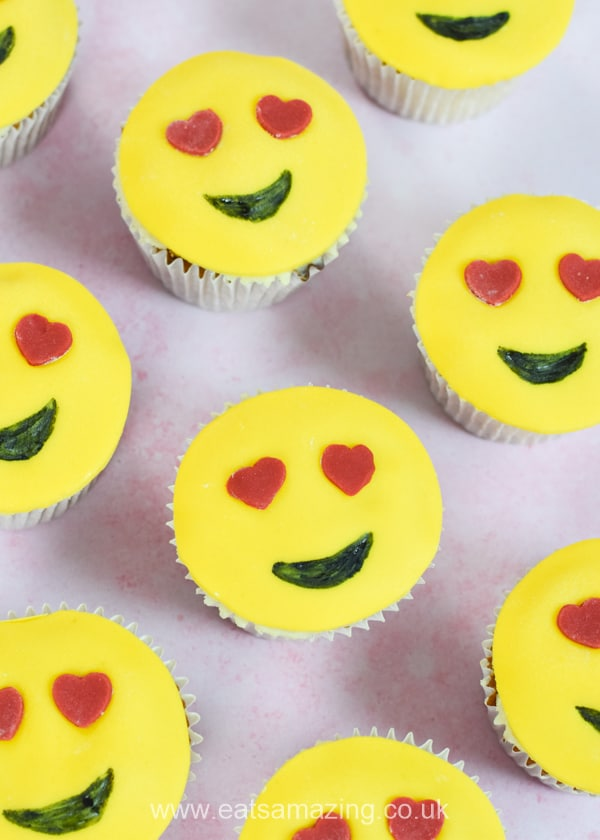 Cute Valentines Emoji Cupcakes recipe - fun Valentines Day treat for kids