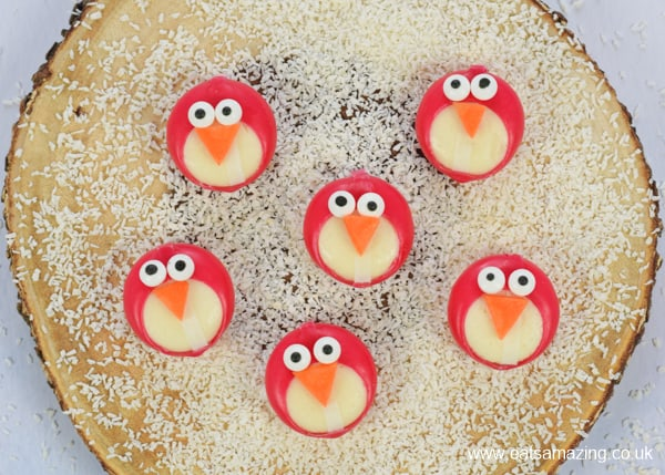 Cute and easy cheese penguins - fun winter themed party food idea for kids