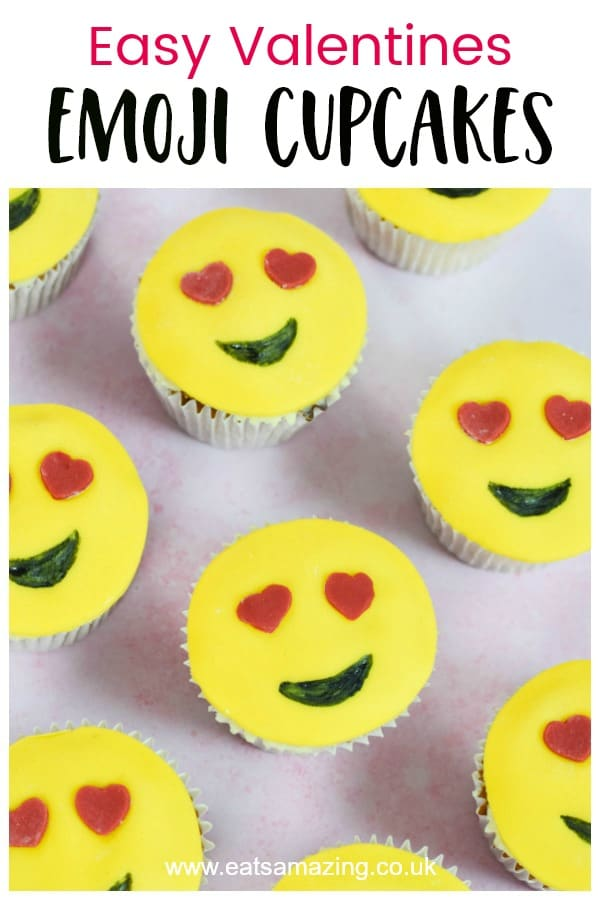 Cute and easy love emoji cupcakes recipe - fun baking recipe for kids to make for Valentines Day #EatsAmazing #valentinesday #valentines #cupcakes #emoji #kidsfood #funfood #cakedecorating #fondant #easyrecipe #valentinesdayrecipes #partyfood
