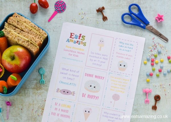 FREE Sweet Treat lunchbox notes for kids to download and print - make school lunchboxes fun with these cute lunch notes